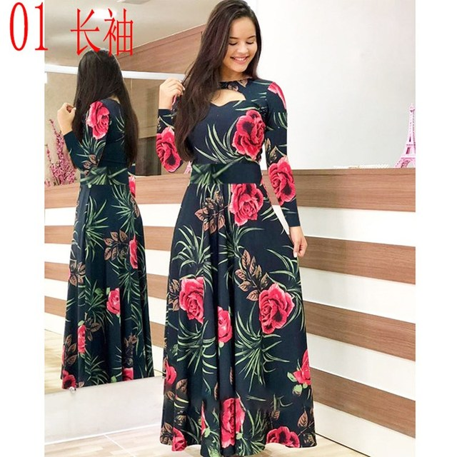 Elegant Spring Autumn Women Dress Casual Bohmia Flower Print Maxi Dresses Fashion Hollow Out Tunic Vestidos Dress Plus Size 6