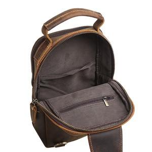Image 3 - GO szczęście marki szalony koń prawdziwej skóry na co dzień torba typu Sling na klatkę piersiową mężczyzn torba na ramię Crossbody męska skóra bydlęca Messenger torby