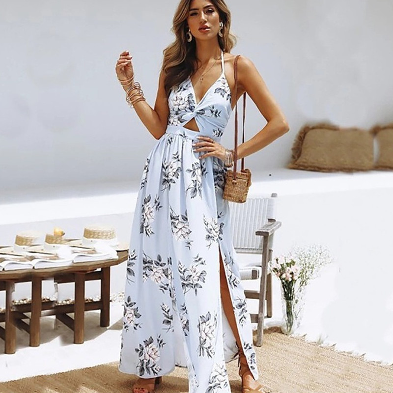 Maxi Dresses for Women Summer Vintage Costume Casual Evening Party Dresses