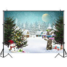 NeoBack Christmas Snowman Backdrop Wooden House Snowflake Fairy Photo Background Jungle Tree Photography Backdrops