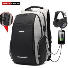MAGIC UNION mochila para portátil de viaje para hombre y mujer, antirrobo, puerto de carga USB, resistente al agua, mochila escolar universitaria