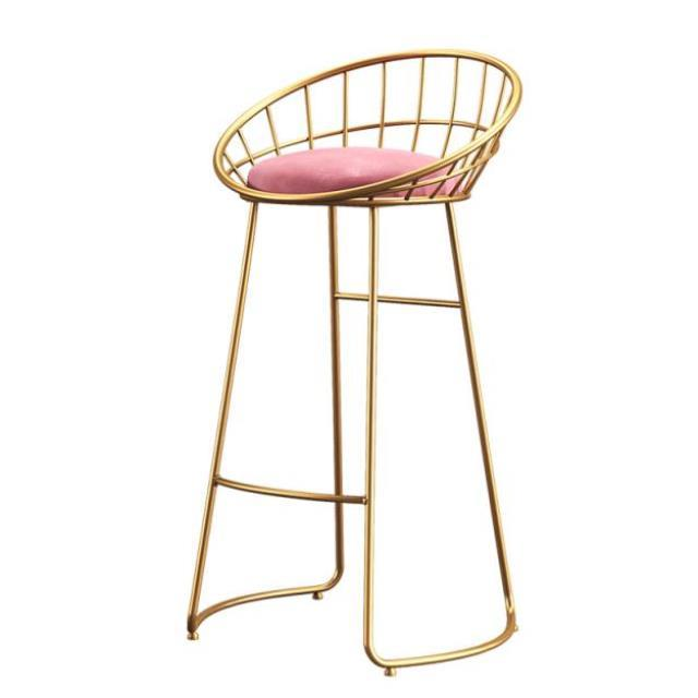 Nordic Simple Bar Chair Leisure    Iron  Gold High Stool Modern Dining   Wire