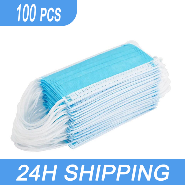 10-100pcs  Facemasks Non-woven Three-layer Filter Protection Mask Disposable Anti-dust Mouth Nose  Face Masks