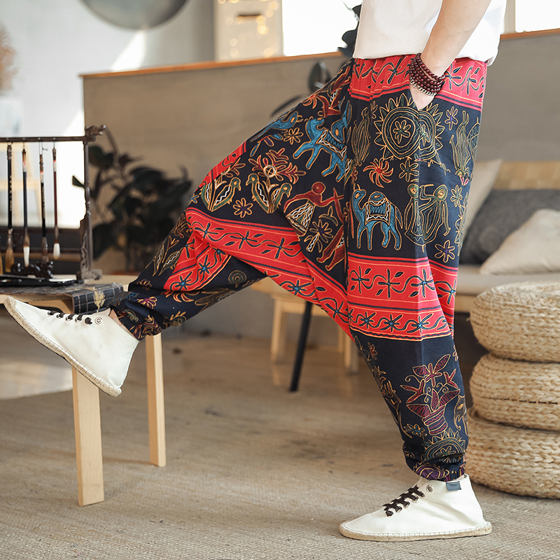 Cotton Linen Harem Cross Pants Leisure Hip Hop Jogger Pants Male 2020 Summer New Fashionable Streetwear Man Casual Trousers
