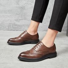 2019 남자 드레스 신발 가죽 옥스포드 신발 레이스 캐주얼 비즈니스 공식 남자 신발 브랜드 남자 결혼식 신발