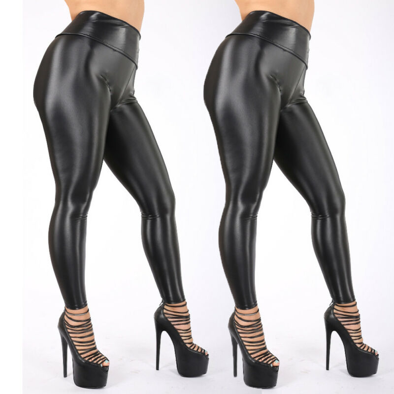 2019 New Hot Summer Fashion Girls Female Lady Shiny Bling Faux Patent Leather Stretch Leggings Wet Look PVC Pants Trousers image