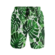 Quick Dry Men's Board Shorts 2021 Casual Men Boardshorts Homme Classic Tropical Palm Leaf Print Beach Shorts Male