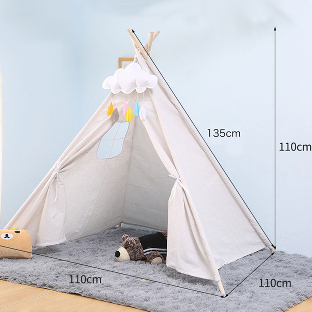 Kids Tent Portable Folding 135*110cm Children's Tent Kids Little Play House Girls Wigwam India Triangle Tent Room Dector