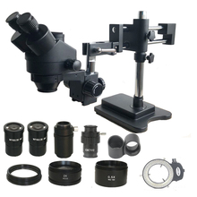 7X 45X Double Boom Zoom Simul Focal Trinocular Stereo Microscope 0.5X 2.0X Objective Lens 144 Led Lights Phone PCB Repair Tools