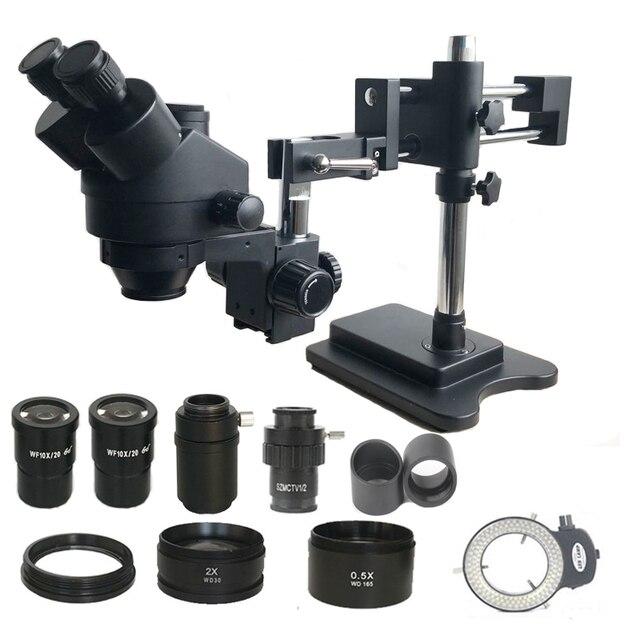 7X 45X כפול בום זום Simul מוקד סטריאו Trinocular מיקרוסקופ 0.5X 2.0X עדשה אובייקטיבית 144 Led אורות טלפון PCB תיקון כלים
