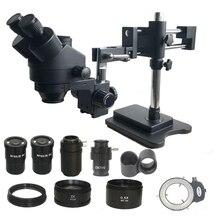 7X 45X çift Boom Zoom Simul odak trinoküler Stereo mikroskop 0.5X 2.0X objektif Lens 144 Led ışıkları telefon PCB onarım araçları