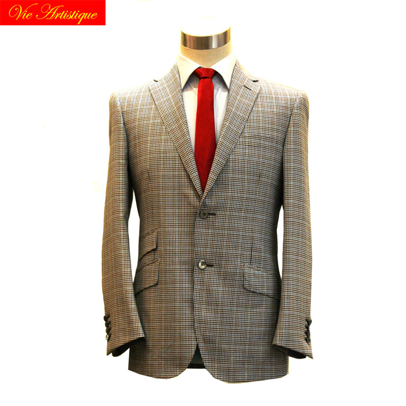 Custom Tailor Made Men's Bespoke Suits Business Formal Wedding Bespoke 2 Piece Jacket Coat Pant Coffee Window Plaid Fine Wool