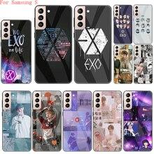 Чехол EXO band k-pop из закаленного стекла для Samsung S7 Edge S8 S9 S10 S20 S21 Plus S10e S20 S21 Ultra S20 Fe, задняя крышка