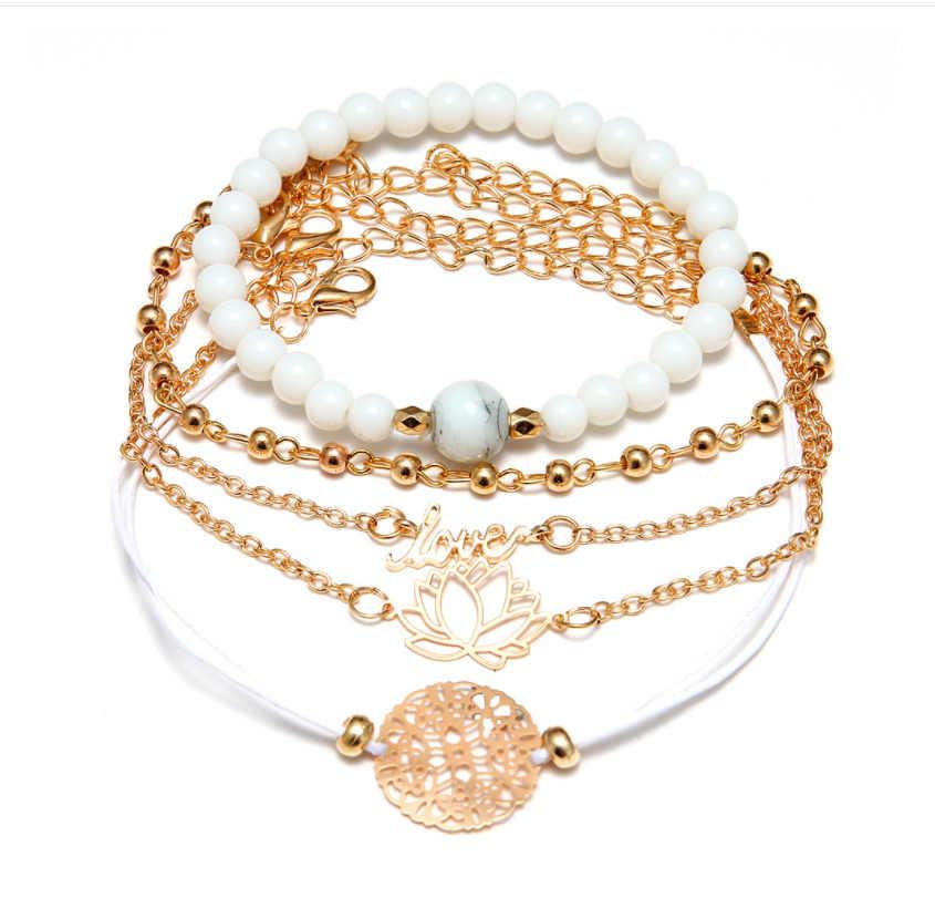 Модные женские Набор браслетов из бусин Винтажные Ювелирные изделия Boho черепаха карта шарм браслеты и браслеты для девушек цепи женские аксессуары