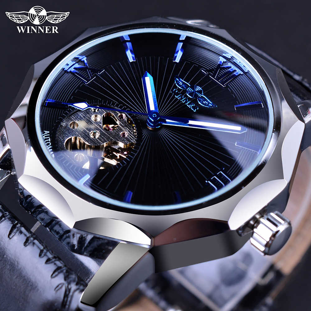 Pemenang Laut Biru Geometri Desain Transparan Skeleton Panggil Mens Watch Top Brand Luxury Automatic Fashion Mekanis Watch Clock