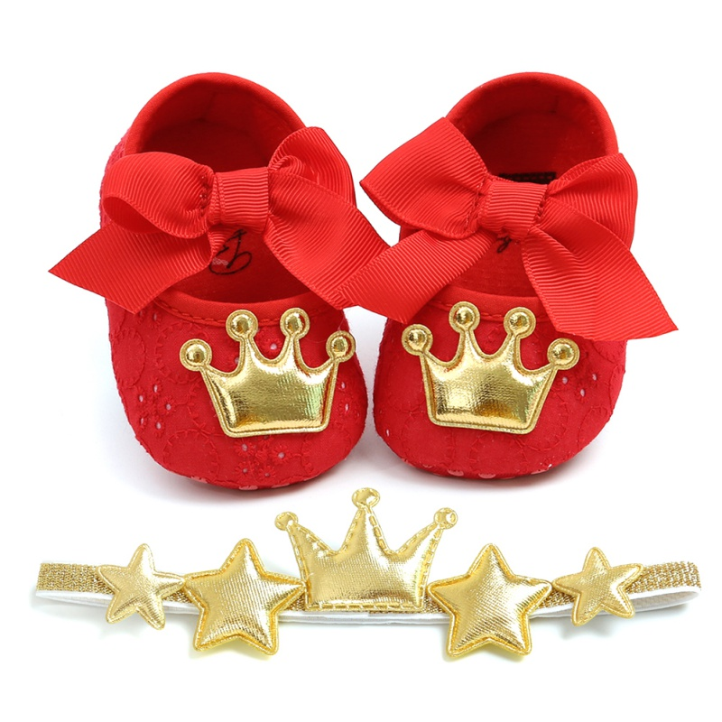 Baby Girl Infants Crown Bow Princess Shoes Headwear Headband Photography Props Sets First Walkers Shoes Gifts