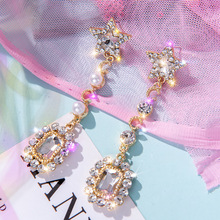 star long crystal earrings rhinestone korean earings fashion jewelry  trendy