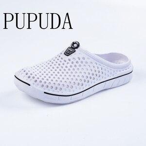 Image 2 - PUPUDA mokasen erkekler yaz plaj ayakkabısı açık rahat terlik erkekler ev hafif ev terliği erkekler ev terlikleri kadınlar