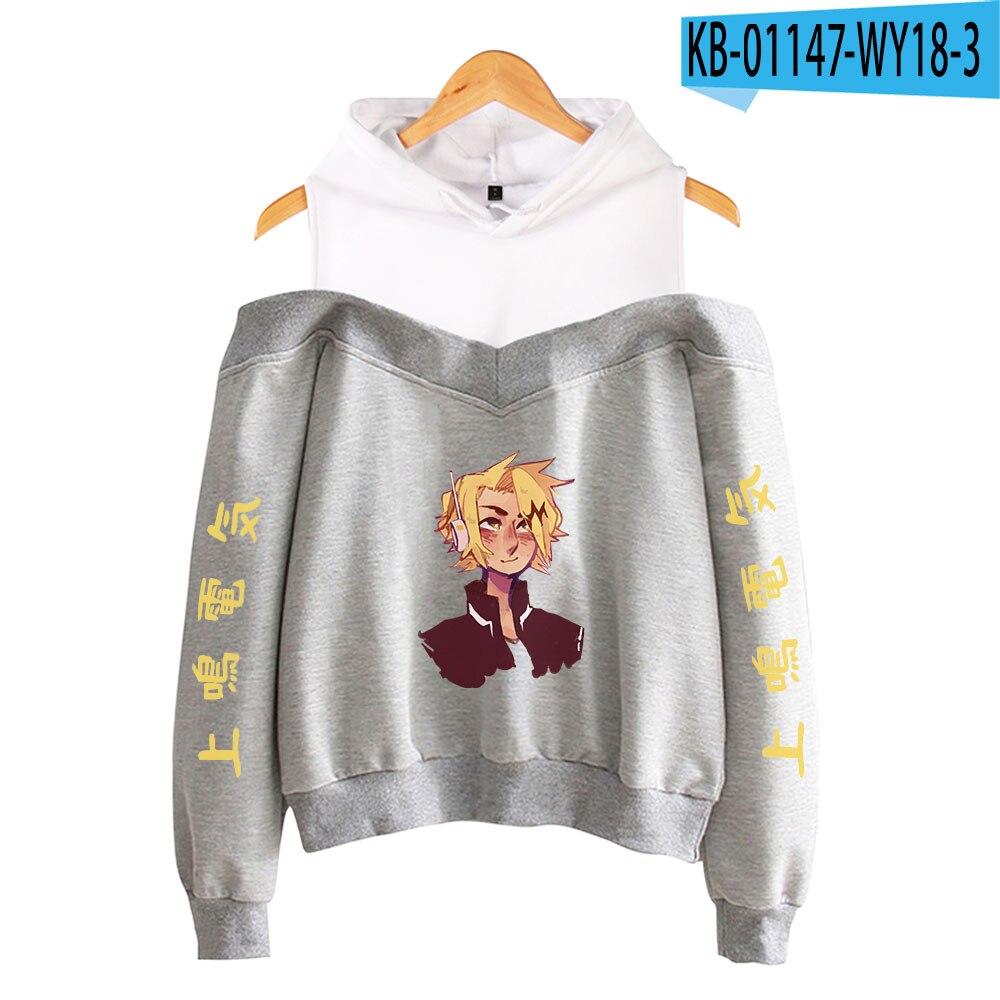 My Hero Academia Hoodies Female Off Shoulder Sweatshirt Women's Pullover Harajuku Streetwear Denki Kaminari 2021 Anime Clothes 24