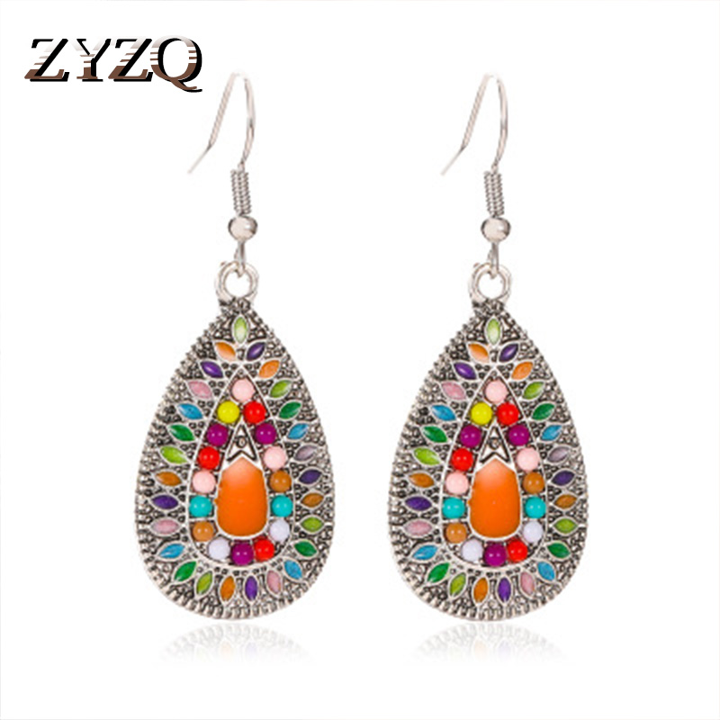 ZYZQ Neo-Gothic Bohemia Women Drop Earrings Vintage Ethnic Painting Stylish Pendant Fashion Jewelry Earrings Hot Selling Jewel