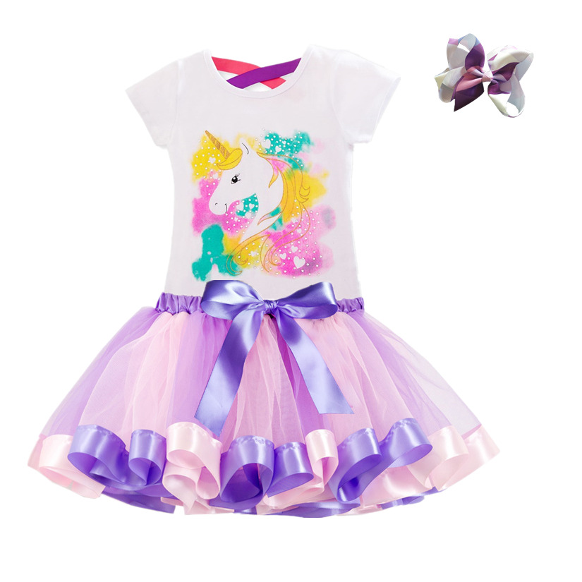 Unicorn Children's Clothing Sets Baby Girl Clothes Summer Princess Party Tutu Unicorn Costume Dress Kids Birthday Outfits Suits 5