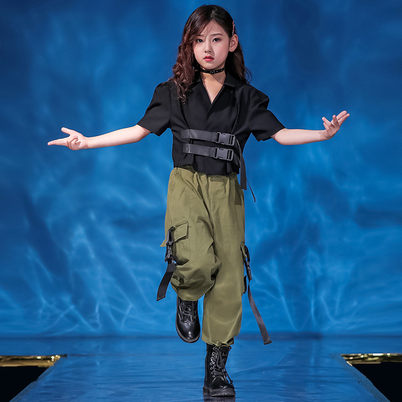 Kid Cool Hip Hop Clothing Black Short Jacket Top Coat Loose Green Running Casual Pants For Girls Jazz Dance Costume Clothes Wear