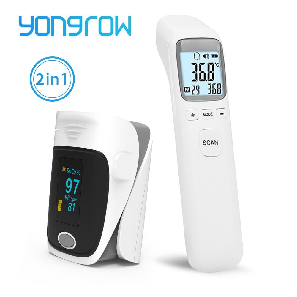 Yongrow médico cuidados de saúde termômetro infravermelho bebê adulto oxímetro ponta dos dedos spo2 pulso de dedo lcd digital
