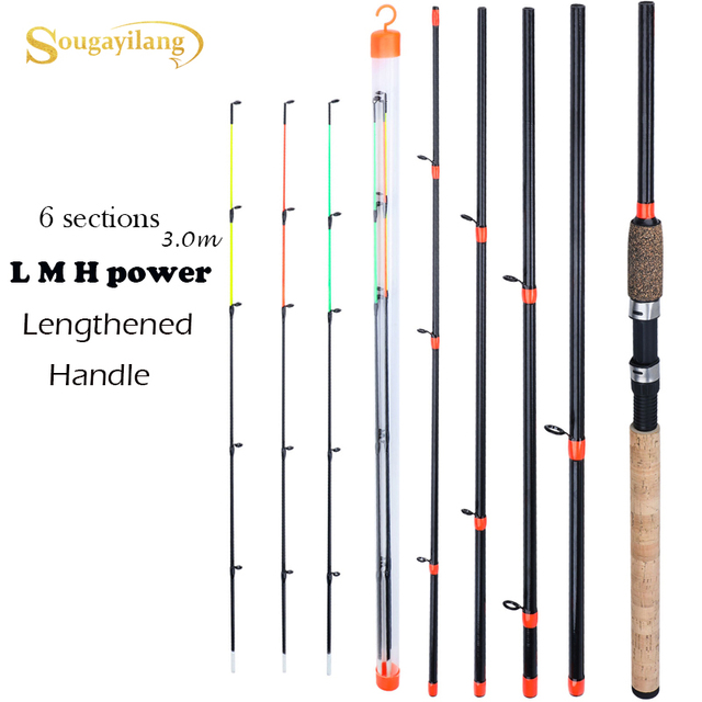 Sougayilang New Feeder Fishing Rod Lengthened Handle 6 Sections Fishing Rod L M H Power Carbon Fiber Travel Rod Fishing Tackle 1
