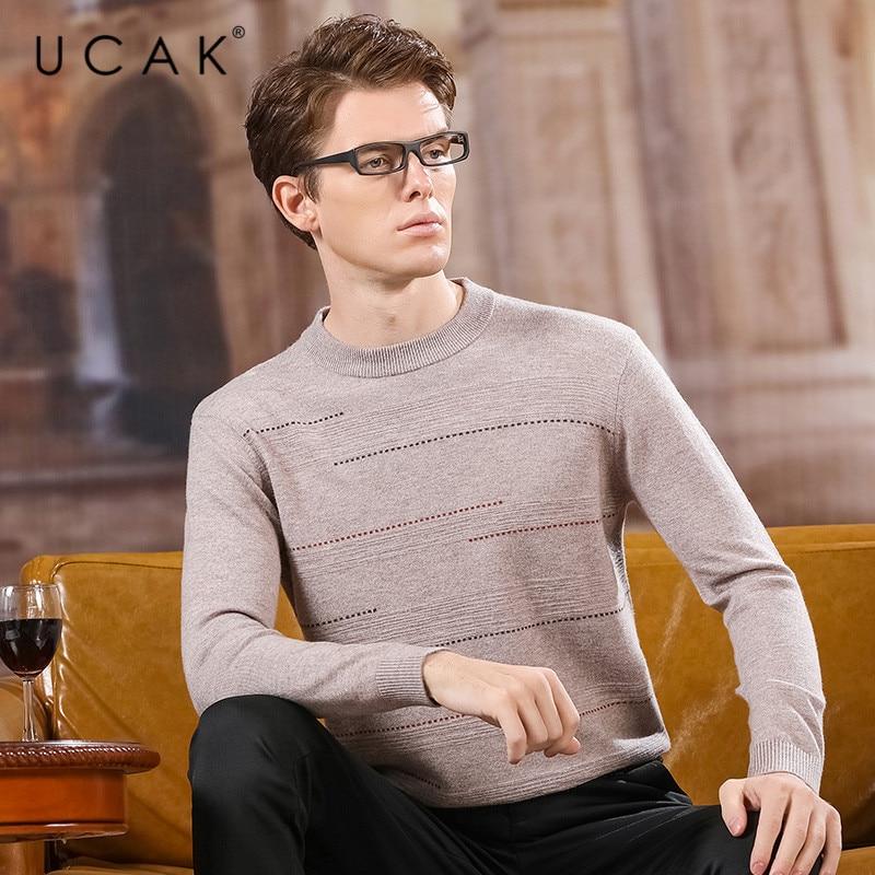 UCAK Brand Sweater Men 2020 NEW Arrival Pure Merino Wool O-Neck Casual Striped Homme Fashion Trend Streetwear Pullovers U3162
