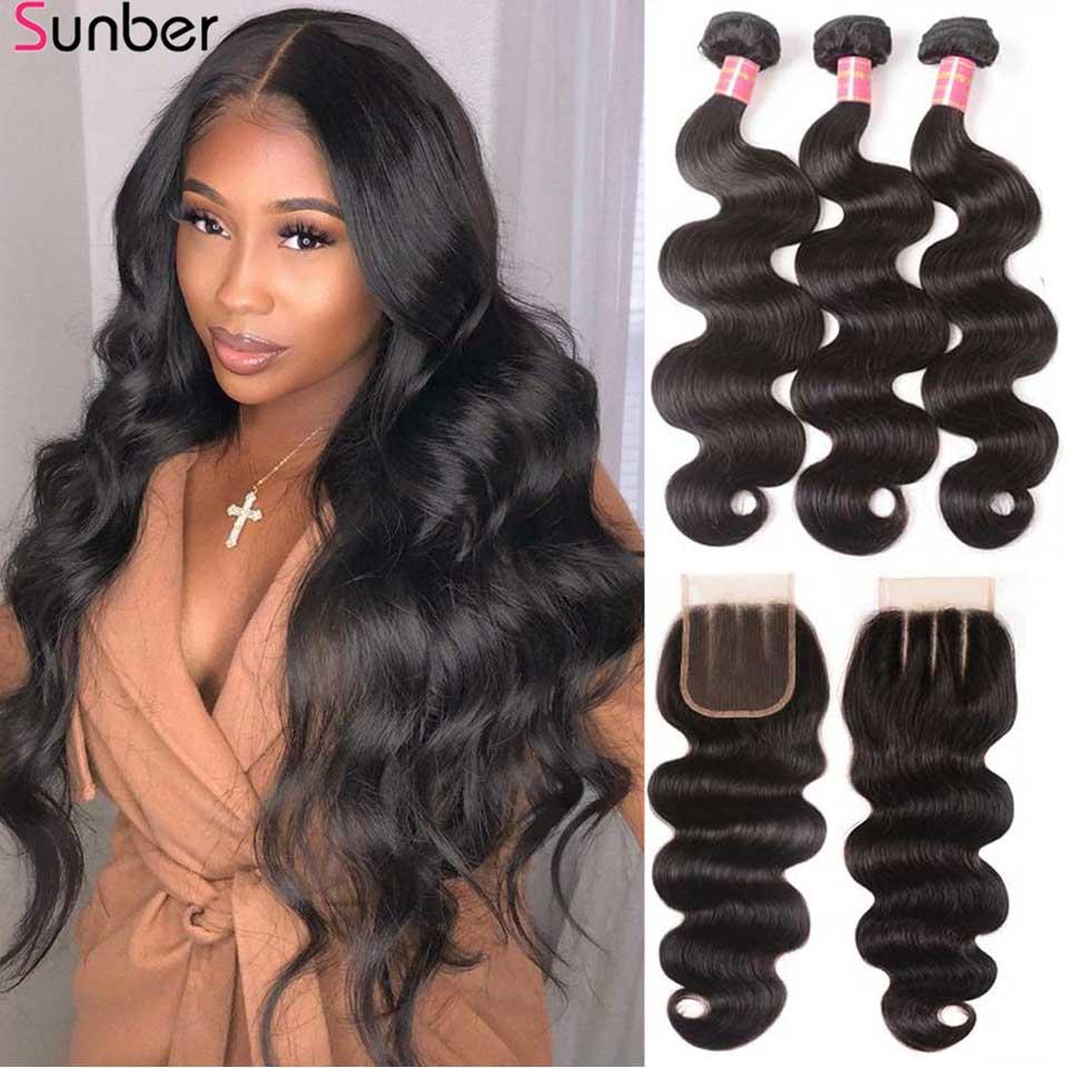 Sunber cheveux péruviens vague de corps paquets de cheveux avec fermeture rapport élevé Remy cheveux 3/4 paquets avec fermeture Double Machine trame de cheveux