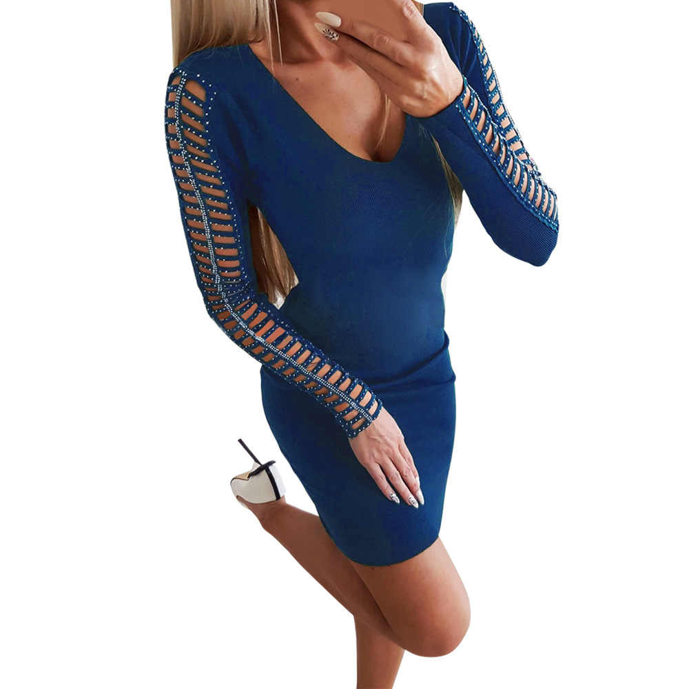 Для женщин с длинными рукавами и отверстиями на верхнем слое платье со стразами уличная мода v-образным вырезом облегающее элегантное платье леди осень-зима стройные бедра вечерние платья