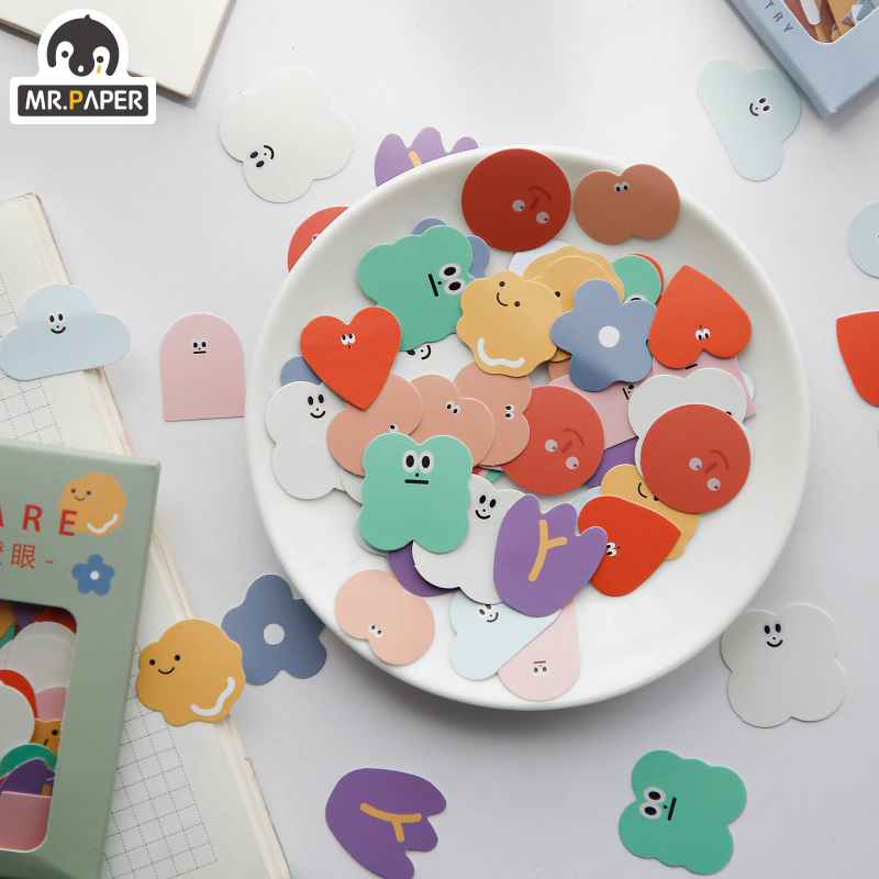 Mr.Paper 100pcs/lot Kawaii Animal Mini Coated Paper Stickers Deco Bag Minimalist Toys Write Down Points Luggage Artsy Style Memo 4