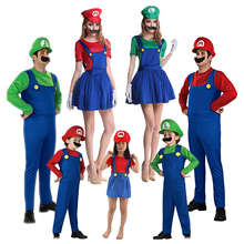 Super Mari0 Costume Cosplay Jumpsuit Adults Kids Halloween Dance Fancy Dress Gift Mari0 LUIGI Brothers Costumes Party Outfit