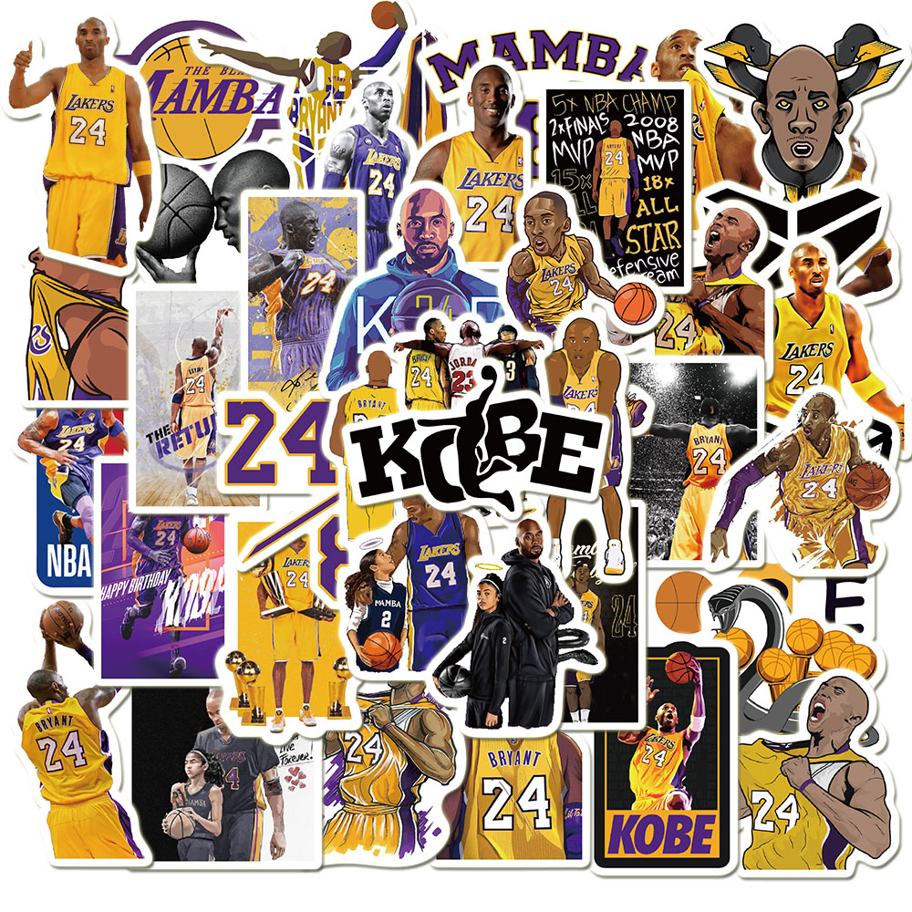 50Pcs Basketball Kobee Bryant Stickers Toys Black Mamba Waterproof Stickers For Laptop Notebook Skateboard Decal Fans Collection