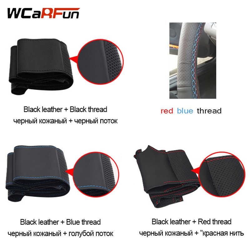 Wcarfun Rood Blauw Marker Zwart Suede Lederen Auto Stuurhoes Voor Honda Nieuwe Fit Stad Jazz 2014 2015 hrv 2016