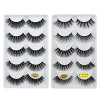Anself 10 Pairs False Eyelashes 3D Reusable Handmade Fake Eyelashes Long Thick Curly Eyelashes Extension with Lashes Applicator