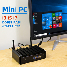 XCY Mini PC Intel Core i7 7500U i5 7200U i3 7100U DDR3L RAM mSATA SSD HDMI VGA 6xUSB Dual-band WiFi Bluetooth 4,0 Windows 10