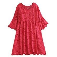 Jaycosin moda camisa de ocio mujer media manga cómoda salvaje Vintage Casual ahueca hacia fuera cuello redondo Jersey blusa superior de lino 25