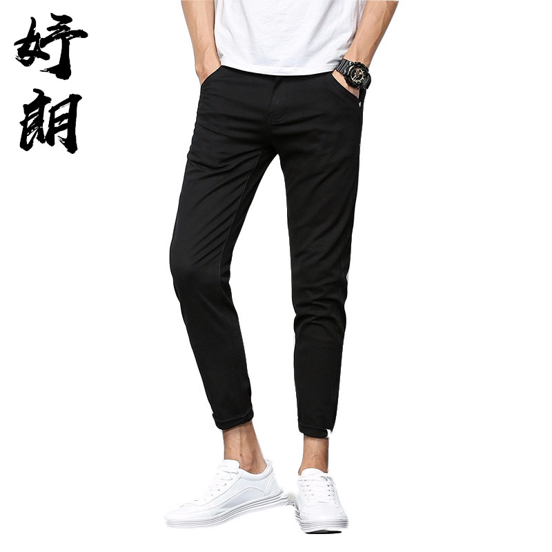 Versatile Autumn Teenager Capri Thin Men Skinny Slim Fit Korean-style Casual Pants Men's Trend 9 Pants 906