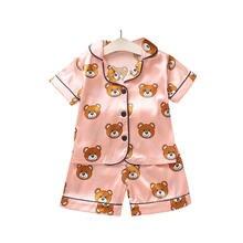 En Soie d'été Enfants Vêtements Ensembles Manches Courtes Enfants Pyjamas Bébé Vêtements pour Filles Garçon Vêtements Ensembles De Vêtements De Nuit Enfants Vêtements