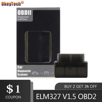 OkeyTech Mini ELM327 Bluetooth V1.5 OBD2 Car Diagnostic-Tool Scanner Elm-327 OBDII Adapter Auto Diagnostic Tool For Android launch x431 pro mini with bluetooth function full system 2 years free update online mini x 431 pro powerful auto diagnostic tool