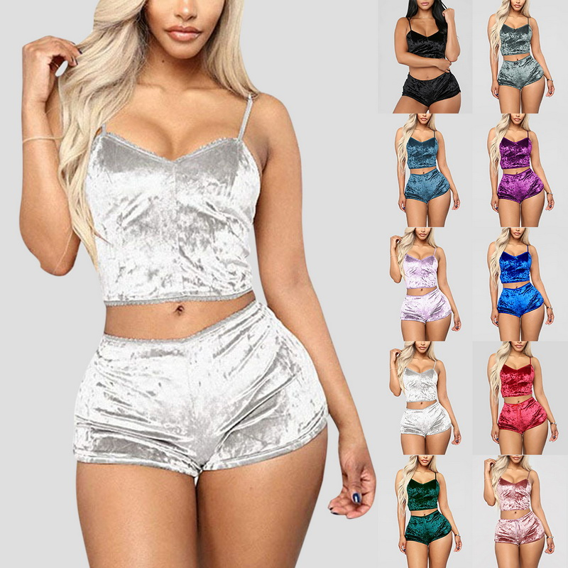 Ladies Pajama Set Cute Print Pattern Sleepwear Silk V Neck Sexy Pijama Satin Night Home Suits Wear Sleeveless Top And Shorts