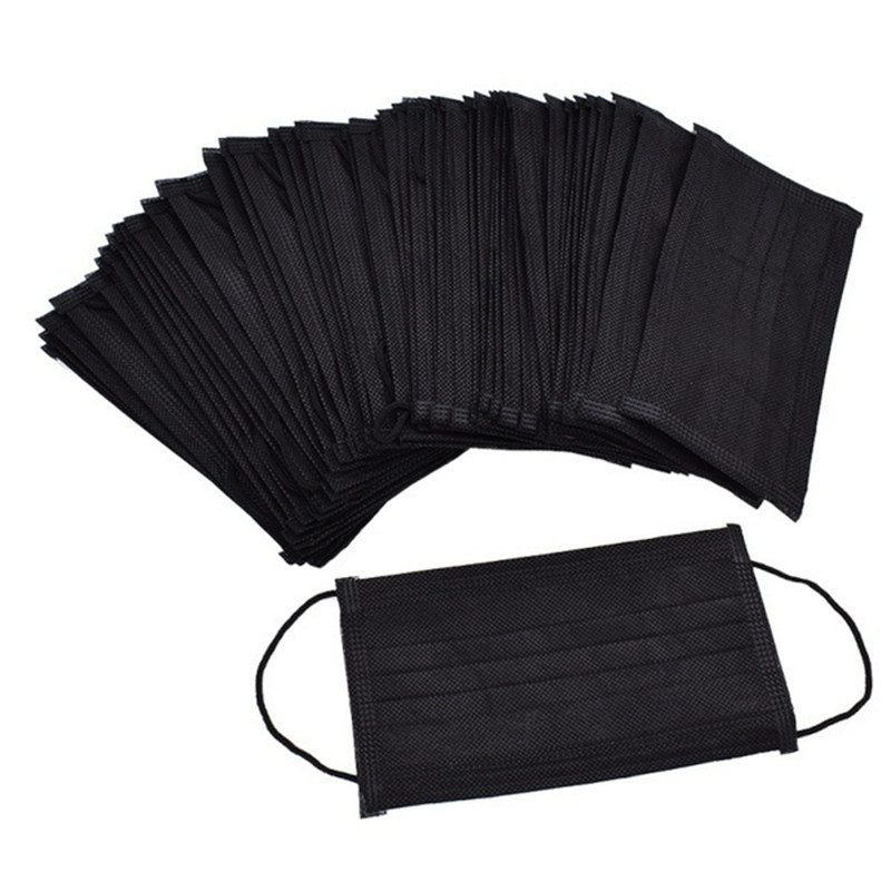 100pcs High-quality Non-Woven Fabric Meltblown Cloth Adult Disposable Black Mask Protective Filter Dust-Proof Face Mask