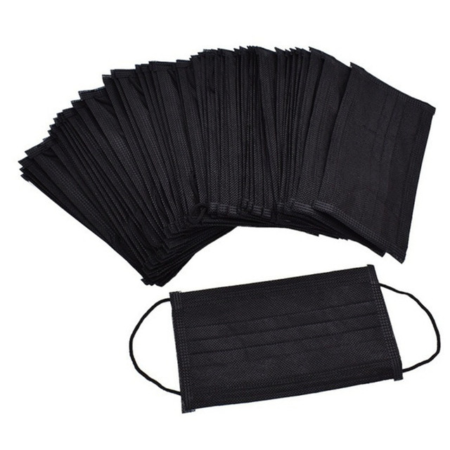 5pcs-100pcs High-quality Non-Woven Fabric Meltblown Cloth Adult Disposable Black Mask Filter Face Mask Black Masks