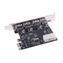 4 порта PCI-E к USB 3,0 концентратор PCI Express адаптер карты расширения 5 Гбит/с скорость