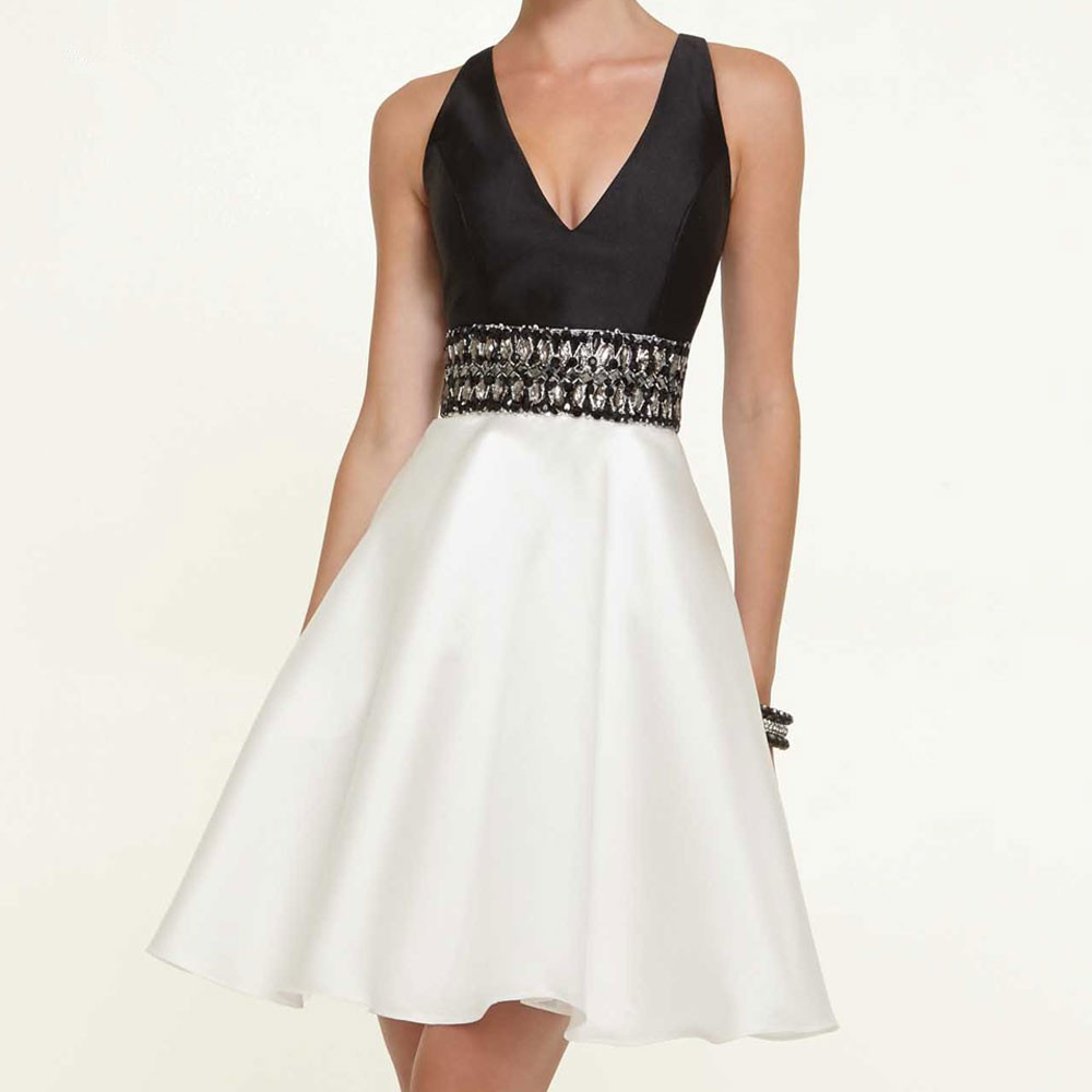 Bridal Belt Short Prom A Line CP-3 Black And White Beaded Waist Sexy V Neck Keyhole Back Satin Bridesmaid Dress