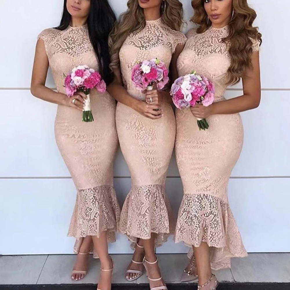 champagne   bridesmaid     dresses   lace crew neckline lace mermaid wedding guest party   dresses   mermaid