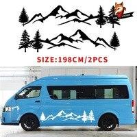 Universal Car Styling Tree Decal Mountain Scene Large Northwest Car Sticker Vinyl for Car Truck RV Toy Hauler Vehicle