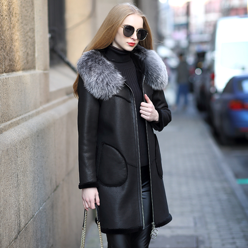 Fox Fur Collar Real Fur Coat Female Jacket Autumn Winter Coat Women Clothes 2020 Genuine Leather Jacket Sheepskin Coat ZT4834