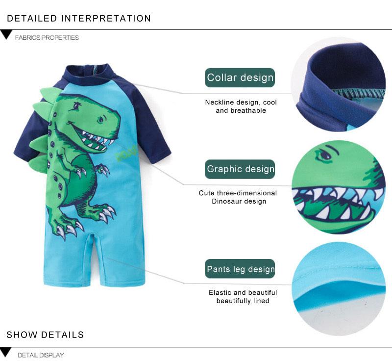 2 pçs conjunto surf wear dinossauro verde
